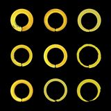 Vector Set of Bright Golden Circles, Isolated on Black Background Icons, Blank. royalty free illustration