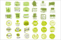 Vector set of bright green stickers with text for packing natural products. Vegan eating. Organic and healthy food signs. Collection of bright green stickers royalty free illustration