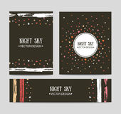 Vector set of bright hand drawn cards templates. Greeting card, invitation, best regards. Stock Images