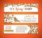 Vector set of bright horizontal spring banners. Royalty Free Stock Photography
