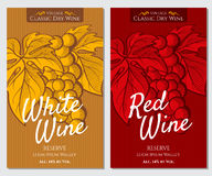 Vector set of bright labels for white and red wine. Vector Graphic pattern of labels for wine bottles. Figure vector formed in graphic style. It can be used for Stock Photography