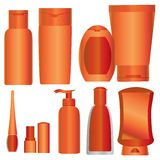 Vector Set of bright orange cosmetics packages Royalty Free Stock Image
