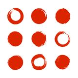 Vector Set of Bright Red Circles, Japanese Brushes Collection Isolated. royalty free illustration