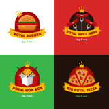 Vector set of bright royal food delivery and Stock Images