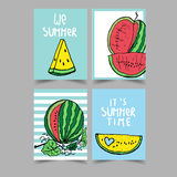 Vector set of bright summer cards. Beautiful summer posters with watermelon. And hand written text Stock Image