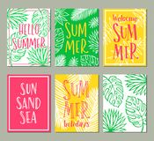 Vector set of bright summer cards Stock Images