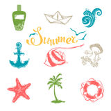 Vector set of bright summer and travel symbols. Stock Image