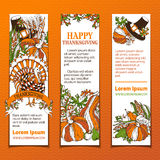 Vector set of bright Thanksgiving vertical banners. Royalty Free Stock Images