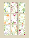 Vector set of bright vertical cards with fresh vegetables. Organic farm food. Vegetarian nutrition. Hand drawn design. Collection of bright vertical cards with Royalty Free Stock Image