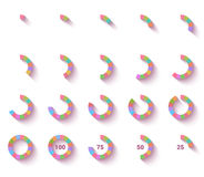 Vector set of brightly colored pie charts Royalty Free Stock Image