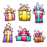 Vector set of brightly gift cartoon box Royalty Free Stock Photo