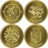 vector Set British money gold coin one pound Stock Photos