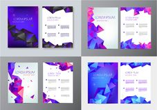 Vector set of brochure design templates, cover design, flyers. Abstract business flyer A4, geometric triangle facet. Style with 3d shapes vector illustration