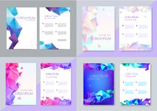 Vector set of brochure design templates, cover design, flyers. Abstract business flyer A4, geometric triangle facet. Style with 3d shapes royalty free illustration