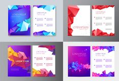 Vector set of brochure design templates, cover design, flyers. Abstract business flyer A4, geometric triangle facet. Style with 3d shapes stock illustration