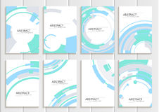 Vector set of brochures in abstract style with turquoise shapes on white background Stock Photo