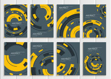 Vector set of brochures in abstract style with yellow shapes on gray background Stock Photography