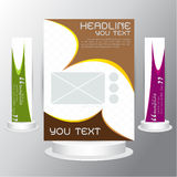 Vector set Brochures flyers business cards brown green purple gold Royalty Free Stock Photography