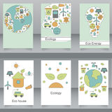 Vector set of brochures and flyers in eco style. Stock Image