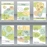 Vector set of brochures and flyers in eco style. Royalty Free Stock Photography