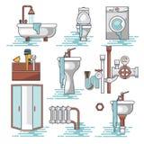 Vector set of the broken home facilities, washbasin, toilet, cabin, washing machine, radiator. Clog of pipes. Plumbing service vector illustration