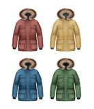 Set of winter coats. Vector set of brown, yellow, green, blue sport winter coats with fur hood front view isolated on white background Royalty Free Stock Images