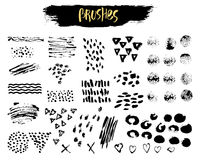 Vector Set of brush acrylic strokes, blot, wave, letter, splashes. Black color on white background. Hand painted grange. Elements. Ink drawing. Dirty artistic Stock Images