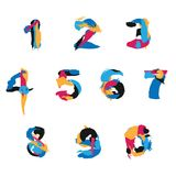 Vector set with brush strokes numbers from 0 to 9 and zero. Hand drawn bright elements.  Royalty Free Stock Photo