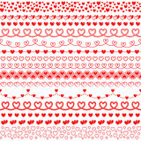 Vector set of brushes with hearts to create frames and borders. Ro. Mantic collection for decorating greeting cards for Valentine`s day, wedding, invitations Royalty Free Stock Photos