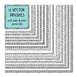Vector set of brushes with outer and inner corner tiles Royalty Free Stock Image
