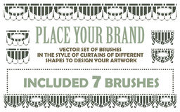Vector set of brushes in the style of curtains of different shap Royalty Free Stock Photos
