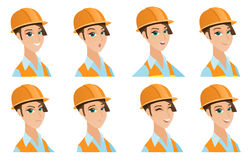 Vector set of builder characters. Royalty Free Stock Images