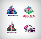 Vector set of building, houses, city, town logos, icons isolated Stock Photo