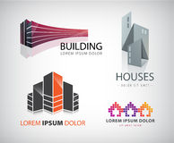 Vector set of building, houses, city, town logos, icons isolated Royalty Free Stock Images