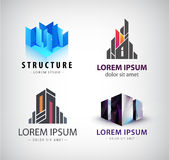 Vector set of building logos. 3d structure, house, office. Building, property logos, icons isolated Royalty Free Stock Image