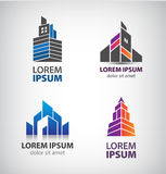 Vector set of building logos, towers, property, houses and skyscraper icons. Stock Image