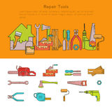 Vector Set of building tools icons Linear. Royalty Free Stock Photography