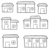 Vector set of buildings. Hand drawn cartoon, doodle illustration stock illustration