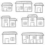 Vector set of buildings. Hand drawn cartoon, doodle illustration Royalty Free Stock Photos