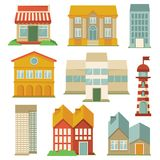 Vector set with buildings icons. Map elements in retro style Royalty Free Stock Photos