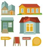 Vector set with buildings icons Royalty Free Stock Images