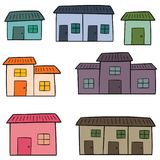 Vector set of buildings. Hand drawn cartoon, doodle illustration royalty free illustration