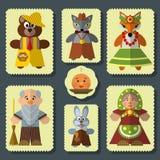 Vector set of The Bun russian folk fairy tale characters Stock Photo