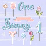 Vector set with Bunny, One, flowers, paw, ribbon. Bunny, One handwritten lettering as patch, stick cake topper, laser cut plastic, wooden toppers. Props for vector illustration