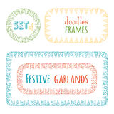Vector set of bunting frames isolated on white background. Festive red, blue, yellow and green hand-drawn garlands. There are places for text in the center Stock Photo