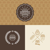 Vector set of burger package design elements Royalty Free Stock Photography
