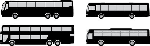 Bus silhouettes Stock Photos