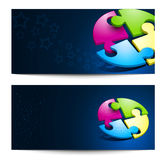Vector set with business backgrounds with puzzles Royalty Free Stock Image