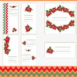 Vector set of business card templates, square postcards and banners with image of forest berries. Drawing in red and green tones. Can be used in postcards vector illustration