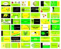 Vector set of 48 business cards. Vector set of 48 business cards in bright green Royalty Free Stock Images